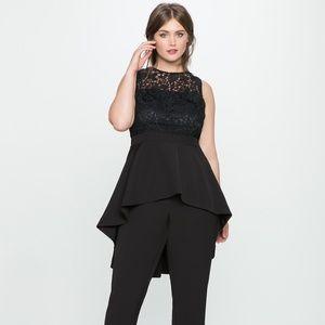 Eloquii high low black lace jumpsuit